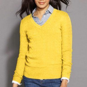 NEW Tommy Hilfiger Yellow Cable Knit VNeck Sweater